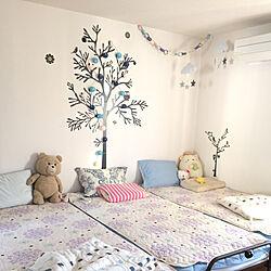 ベッド周り/ニトリ枕カバー/IKEAウォールステッカー/コーナンシーツ/3coin...などのインテリア実例 - 2018-08-15 07:05:36