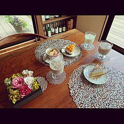 ティータイム/スウィーツ/花のある暮らし/無垢ダイニングテーブル/製作家具...などのインテリア実例 - 2020-03-18 07:57:39