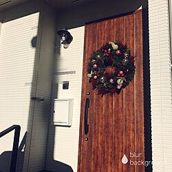 玄関ドア/ケイミュー/白い家/ポスト/クリスマスリース...などのインテリア実例 - 2017-12-15 06:30:43