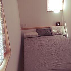 ベッド周り/カーテンはマリメッコで手作り/寝室/無印良品/白×木...などのインテリア実例 - 2016-03-31 11:25:53