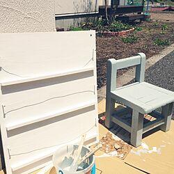 玄関/入り口/シャビー加工/ペンキ塗り♪/木の椅子/保育園の椅子のインテリア実例 - 2014-05-14 12:58:19
