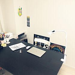 ブラック&ホワイト/MacBookAir/チョークアート/ワークデスク/IKEA...などのインテリア実例 - 2020-05-06 15:03:37