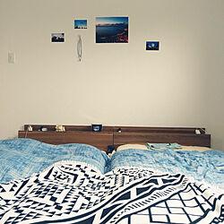ベッド周り/ホテルライクにしたい/沖縄大好き/青色が好き/シングルベッド2台...などのインテリア実例 - 2019-06-14 09:35:55