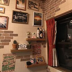 リビング/フライヤー/壁紙リメイク/壁紙DIY/レンガ壁紙...などのインテリア実例 - 2018-10-07 21:56:04