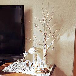 ベッド周り/キノコのオブジェ/LED/白樺のツリー/クリスマスツリー...などのインテリア実例 - 2016-12-02 11:43:33