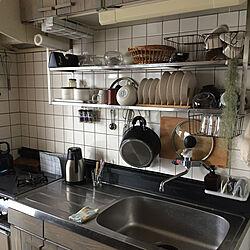 キッチン/吊り棚収納/吊り棚/収納/水切りかごのないキッチン...などのインテリア実例 - 2018-10-01 09:00:24