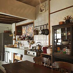 キッチン/リンナイガスコンロ/昔ながらの換気扇/マルチクロス/アンティーク...などのインテリア実例 - 2017-07-04 13:57:30