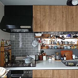 キッチン/キッチン/サブウェイタイル/サブウェイタイルシール/ブルックリンスタイル...などのインテリア実例 - 2020-04-21 22:00:28