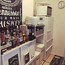 キッチン/モノトーン/BAR風/JACK DANIEL'S/酒...などのインテリア実例 - 2018-09-19 17:13:36