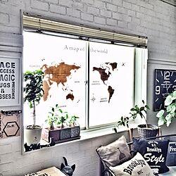 世界地図/ウォールステッカー/ステンシル/ニトリ/珪藻土でレンガ風...などのインテリア実例 - 2016-11-07 21:24:38