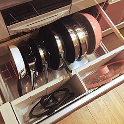 キッチン/ピンク/ティファールフライパン/ティファール/マイヤー...などのインテリア実例 - 2018-09-17 21:33:38
