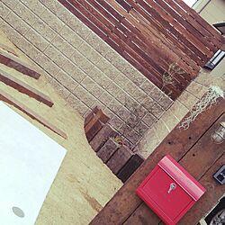 玄関/入り口/外講/ウッドフェンスDIY/枕木門柱/ポスト...などのインテリア実例 - 2016-03-14 23:56:04