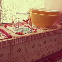キッチン/雑貨/ピンクのタイル/中古住宅/DIY...などのインテリア実例 - 2014-09-23 10:32:05