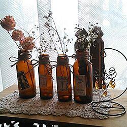 棚/ドライフラワー/空き瓶のインテリア実例 - 2013-12-24 08:29:08