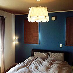 ベッド周り/ストライプ/アクセントクロス/ベッドカバー/IKEAの照明...などのインテリア実例 - 2014-03-22 14:04:32
