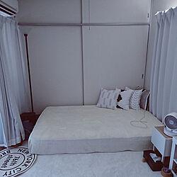 ベッド周り/セミダブル/遮光カーテン/間接照明/ホワイト インテリア...などのインテリア実例 - 2021-09-23 16:04:24