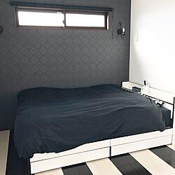 ベッド周り/寝室/ボーダー/床/白黒...などのインテリア実例 - 2016-12-08 21:11:21