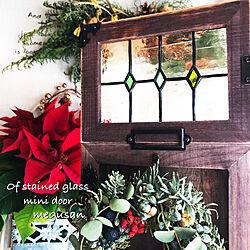 玄関/入り口/フレッシュリース/ミニドア/takaちゃんのリース/クリスマススワッグ...などのインテリア実例 - 2017-12-12 09:00:51