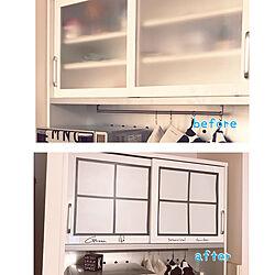 セリア/マスキングテープ/食器棚リメイク/食器棚/リメイク...などのインテリア実例 - 2020-05-30 21:58:14