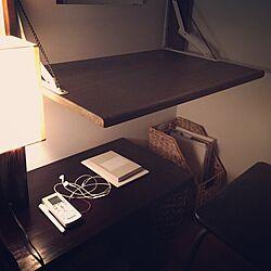 ベッド周り/古木のテーブルライト/折りたたみドレッサー/サイドテーブル/ウォーターヒヤシンスのインテリア実例 - 2015-03-22 23:26:20