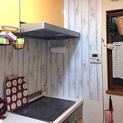 キッチン/IKEA/DIY/かご/壁紙シートのインテリア実例 - 2014-01-11 22:52:28