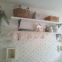 壁/天井/ホワイトインテリア/ホワイトナチュラル/DIY/レンガ風の壁 DIY...などのインテリア実例 - 2018-09-11 12:55:22