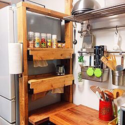 キッチンペーパー収納/デッドスペースを有効活用/デッドスペース収納/DIY棚/キッチン...などのインテリア実例 - 2021-02-27 21:10:56