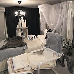 ベッド周り/NO CAT,NO LIFE❤️/猫と暮らす/グレージュ/francfrancブランケット...などのインテリア実例 - 2017-02-25 22:55:02