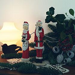 棚/スワッグ作ってみました/サンタの夫婦/ランプ/雑貨大好き♡のインテリア実例 - 2017-12-13 16:02:46