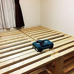 ベッド周り/DIYベッド/2×4材/DIY/木の家具...などのインテリア実例 - 2016-11-27 12:14:05
