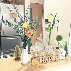 机/ダイソーの花瓶/お花のある暮らし/バラ/ユーカリ...などのインテリア実例 - 2019-01-25 14:10:42