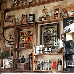 キッチン/食器棚リメイク/ディアウォール/DIY/カフェコーナー...などのインテリア実例 - 2016-07-28 07:53:22