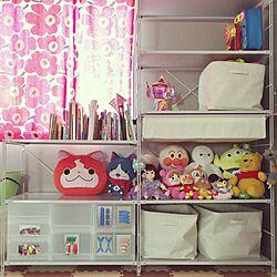 部屋全体/ユニットシェルフ/おもちゃ部屋/おもちゃ収納/山善収納部...などのインテリア実例 - 2016-07-11 08:42:38