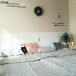 ベッド周り/ニトリの寝具/ニトリ/taka さんのリース♡/夏仕様のインテリア実例 - 2018-05-28 17:00:13