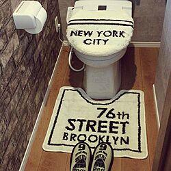 バス/トイレ/隠れ家トイレ/しまむら/ブルックリンスタイル/レンガ壁紙...などのインテリア実例 - 2016-04-21 00:00:36