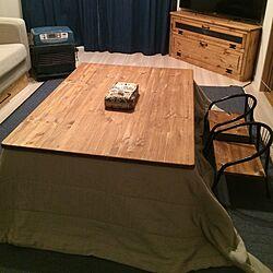 リビング/こたつ/豆椅子 リメイク/ファンヒーター/パイン材の家具...などのインテリア実例 - 2015-12-20 21:49:10
