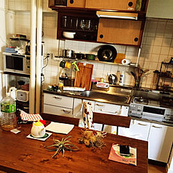 キッチン/初投稿/ダイニングテーブル&チェア/アイアン家具/団地...などのインテリア実例 - 2018-03-08 17:35:27