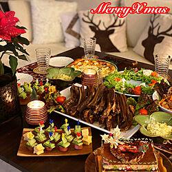 おうち時間を楽しむ/クリスマスパーティー料理/クリスマスパーティー/ポインセチア/暮らしを楽しむ...などのインテリア実例 - 2020-12-25 09:52:03