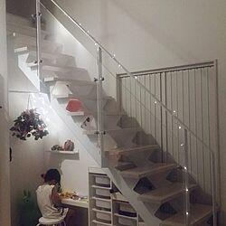 スチール階段/照明/LED/IKEA/夜の風景のインテリア実例 - 2015-08-13 10:48:08