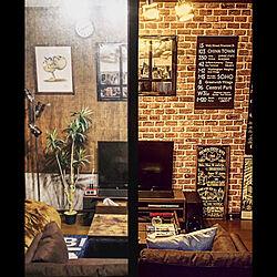 レンガ壁紙/セリアリメイクシート/セリアリメイク/before→after/ペグボード...などのインテリア実例 - 2019-05-27 09:32:50