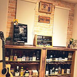 レンガ壁紙/ギター部屋/BAR風/ギターのある家/DIY...などのインテリア実例 - 2020-05-13 22:24:03