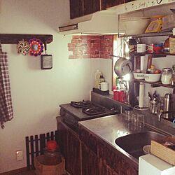 キッチン/壁板DIY/男前に挑戦/沖縄/団地のキッチンのインテリア実例 - 2014-10-28 15:30:32
