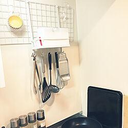 キッチン/一人暮らし/キャンドゥ/100均/壁面収納のインテリア実例 - 2018-11-25 21:14:45