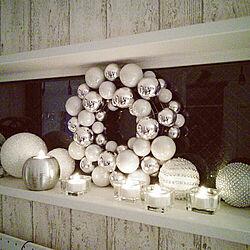 壁/天井/クリスマス飾り/シルバー/シルバーが好き/LED キャンドルライト...などのインテリア実例 - 2017-11-25 12:53:43
