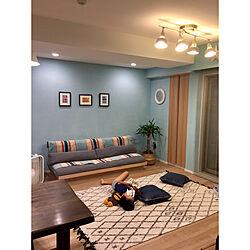 部屋全体/ブルー/清潔感/すっきり暮らしたい/ブランケット...などのインテリア実例 - 2018-06-28 22:45:31