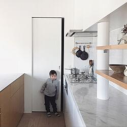 キッチン/オープンキッチン/パントリー/シンプルインテリア/建築家リノベ...などのインテリア実例 - 2018-01-24 19:36:45