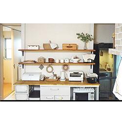 キッチン/2×4材/キッチン背面/山善さんの電気ケトル/白×木...などのインテリア実例 - 2020-01-26 11:57:08