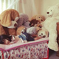 ベッド周り/子供部屋/コストコ/コストコぬいぐるみ/コストコくまのインテリア実例 - 2017-10-24 09:41:36