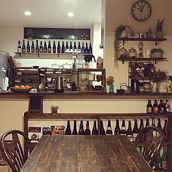 食器棚/日本酒の空き瓶/日本酒好き/コレ、DIYしたよ!/ディスプレイ棚...などのインテリア実例 - 2021-05-02 22:48:04