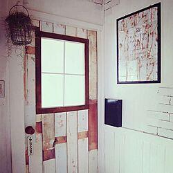 玄関/入り口/KEY BOX/ドアリメイク/サビサビ風のポスター/壁紙屋本舗さん...などのインテリア実例 - 2014-09-05 16:00:36